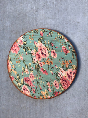 "Handmade Lazy Susan 15""- Country Rose Design"