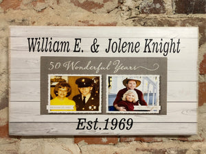 Custom Sign-  Light Barn Wood Design w/ your Family Photo