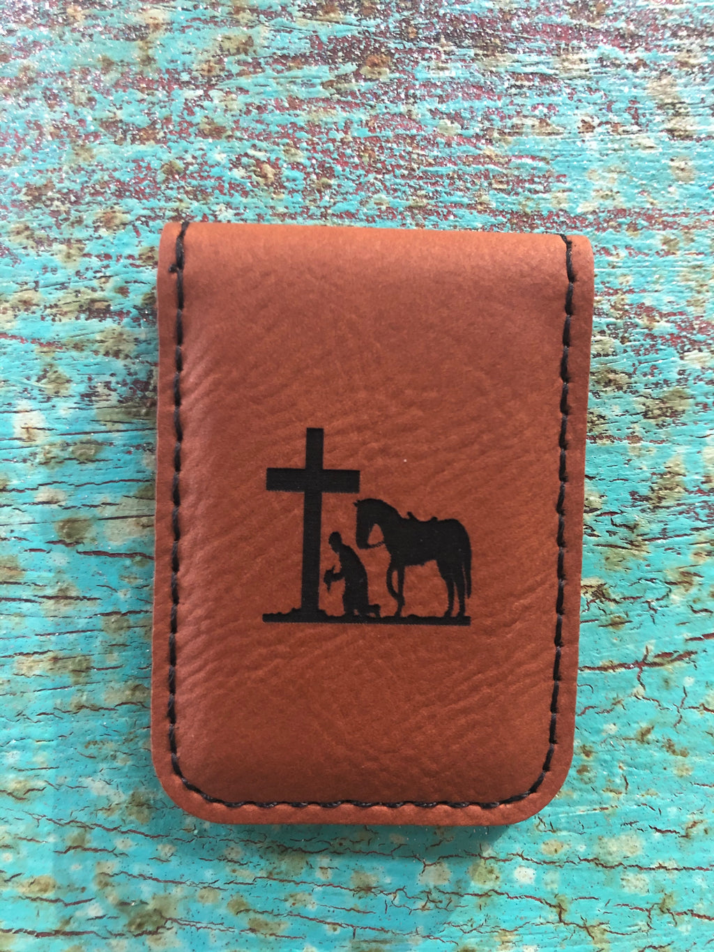 Engraved Magnetic  Money Clip Holder Rawhide Brown-Praying Cowboy