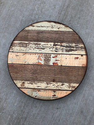 "Handmade Lazy Susan 15""- Multicolored barn wood design"