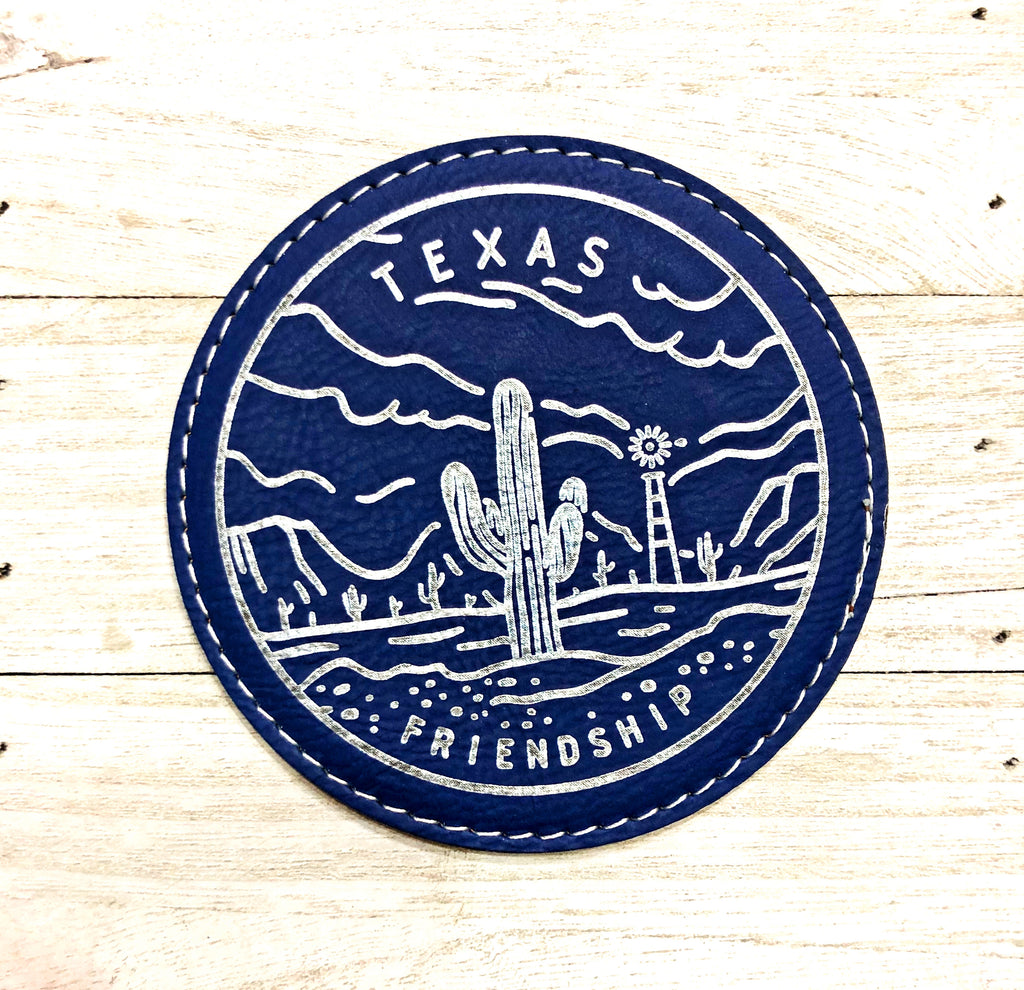 "Engraved 4"" Round Coaster- Texas Friendship Royal Blue w/Silver details"
