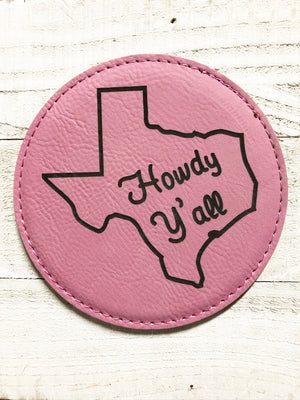 "Engraved 4"" Round Coaster- Howdy Y'all Pink"