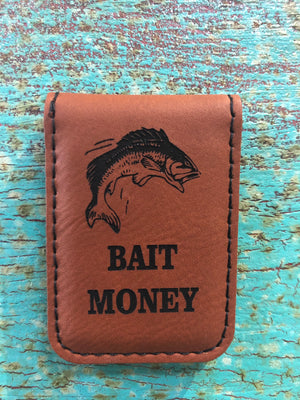 Engraved Magnetic Money Clip Holder Rawhide Brown-Bait Money w/ Fish
