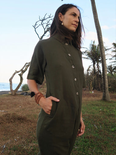 Amazonia Jumpsuit Long in Olive - l u • c i e e
