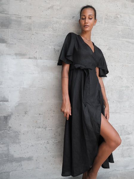Dhalia Linen Dress in Black - l u • c i e e