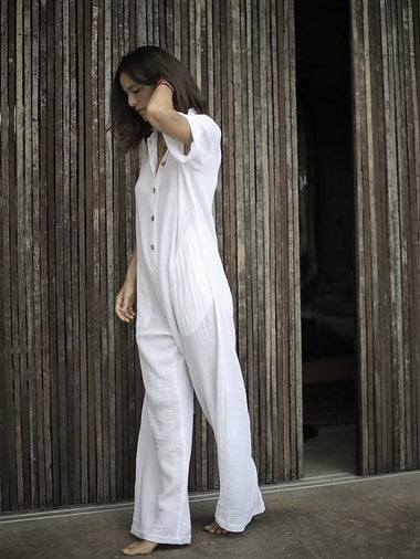 Amazonia Jumpsuit Long in White - l u • c i e e
