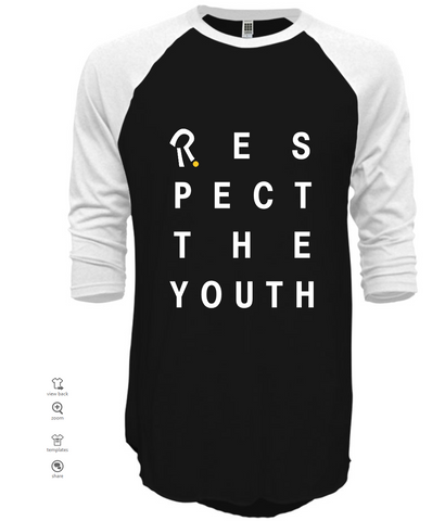 respect the youth black 3/4 sleeve t-shirt