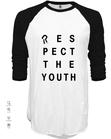 respect the youth white 3/4 sleeve t-shirt