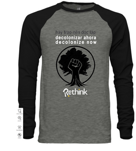 decolonize now grey 3/4 sleeve t-shirt