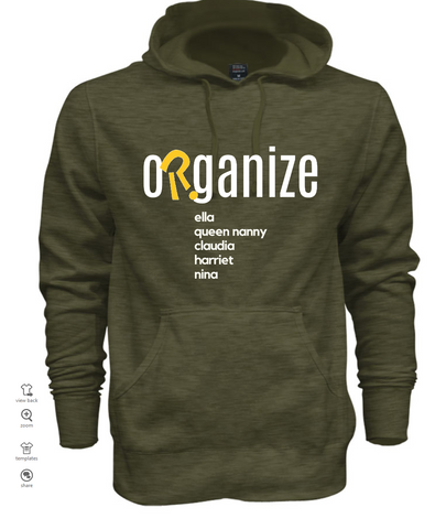 organize ancestors heather green logo hoodie (customize)