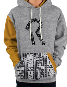 heritage yellow and grey hoodie with ebroidered logo