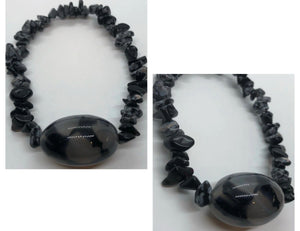 Snowflake Obsidian Chips with Agate Bracelet