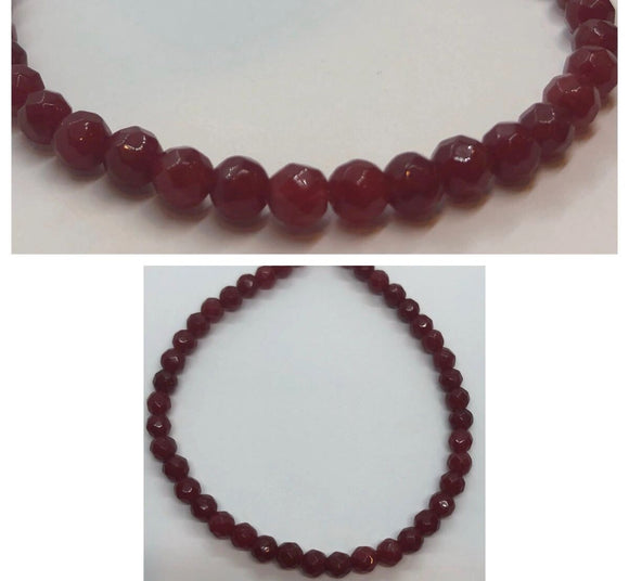 Faceted Small Ruby Crystal Beaded Bracelet