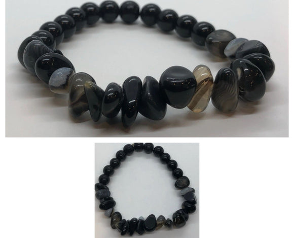 Black Onyx Crystal and Black Agate Chips Beaded Bracelet