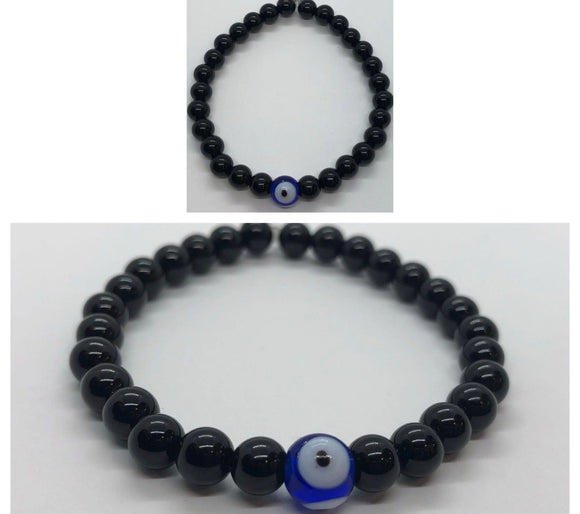 Black Obsidian Crystal Beaded Protection Bracelet with Evil Eye 🧿
