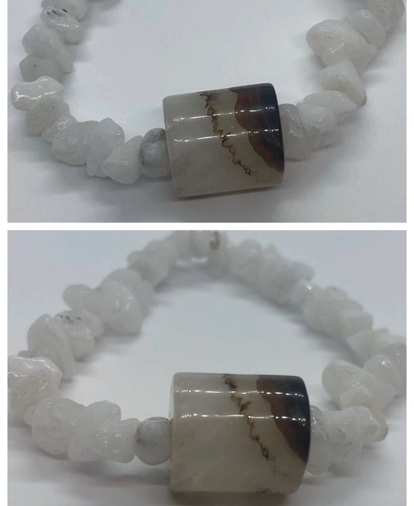White Jade Crystal Beaded Bracelet with Agate Centrepiece