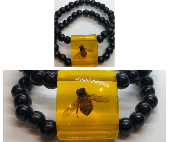 Black Wood Mala Bead Double Strand Bracelet with Bee