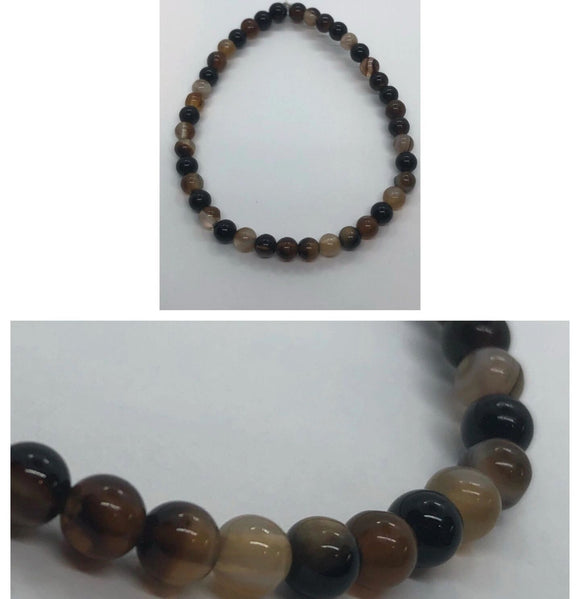 Coffee Agate Crystal Beaded Bracelet