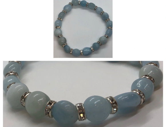 Celestite Crystal Beaded Bracelet with Diamanté Features