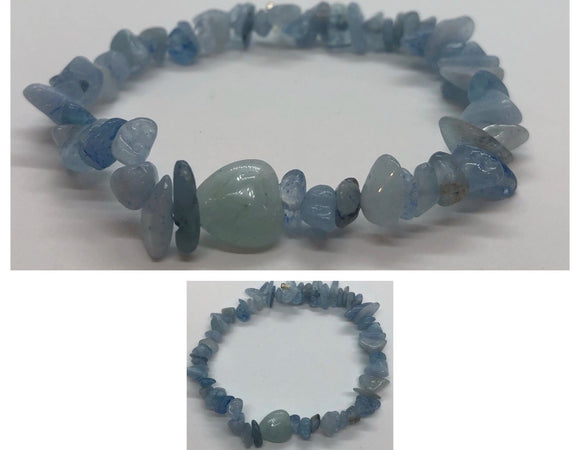Celestite Crystal Beaded Chips Bracelet with Aquamarine Heart