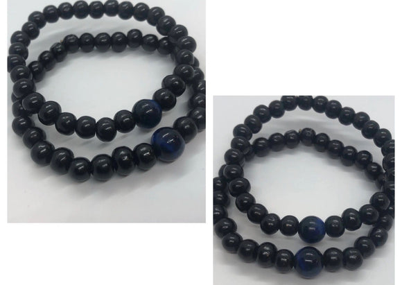 Soulmate Bracelet Set (Set of 2) - Black Mala Wood & Blue Tiger's Eye