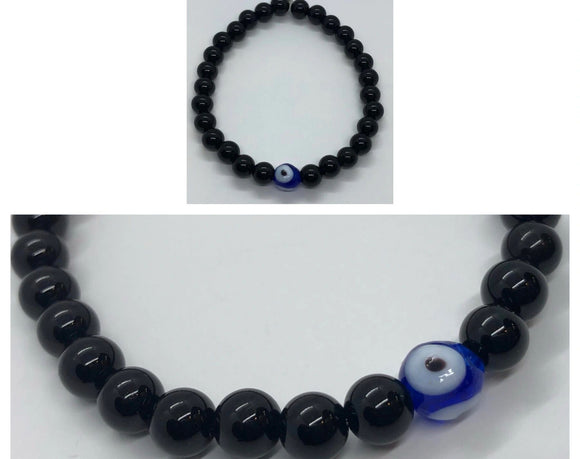 Black Onyx Crystal Beaded Protection Bracelet with Evil Eye 🧿