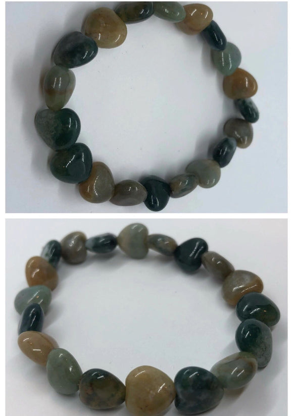 Green Agate Crystal Beaded Hearts Bracelet