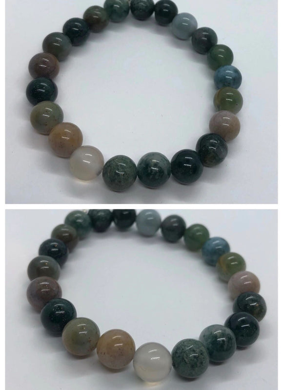 Green Agate Crystal Beaded Bracelet