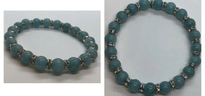 Aquamarine Crystal Beaded Bracelet with Diamanté Accents
