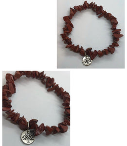 Red Jasper Chips Bracelet with Tree Charm