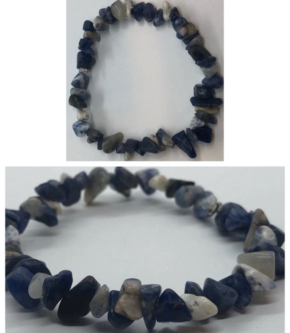 Sodalite Crystal Beaded Chips Bracelet