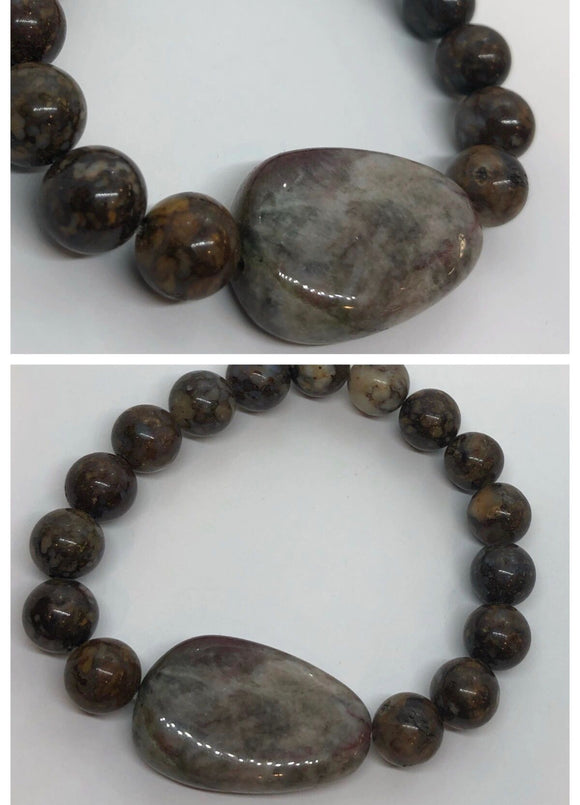 Brown Ocean Jasper  Bracelet with Agate Centrepiece