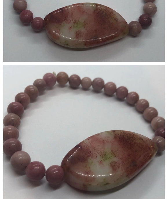 Rhodochrosite Crystal Beaded Bracelet with Agate Crystal Centrepiece