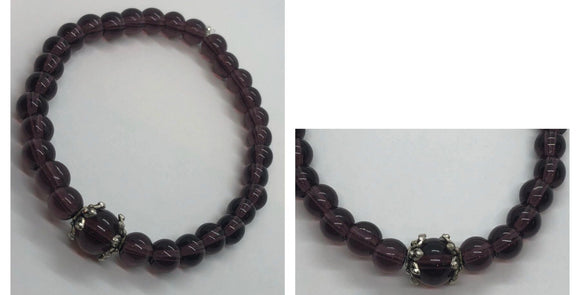 Amethyst Crystal Beaded Bracelet with Accent Centrepiece