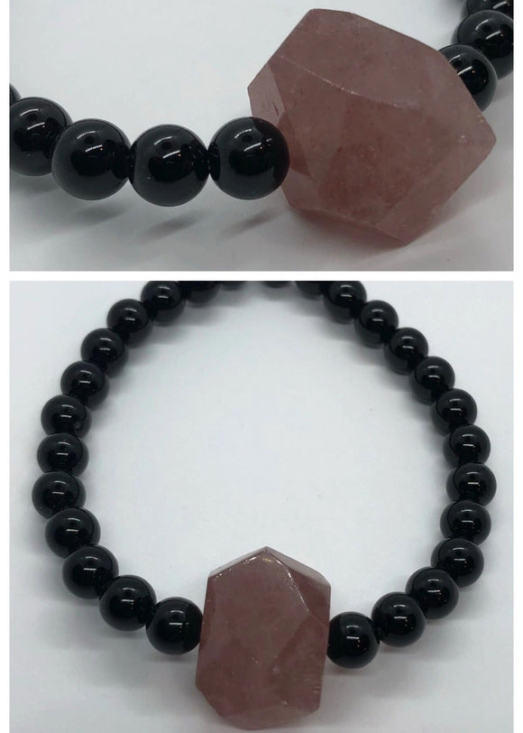 Black Onyx Crystal Beaded Bracelet with Faceted Lepidolite Centrepiece