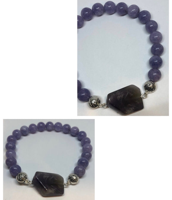 Lilac Angelite Crystal Beaded Bracelet with Amethyst Crystal Centrepiece