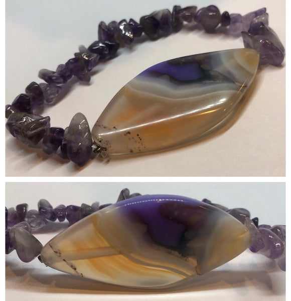 Amethyst Crystal Beaded Chips with Purple Agate Crystal Centrepiece