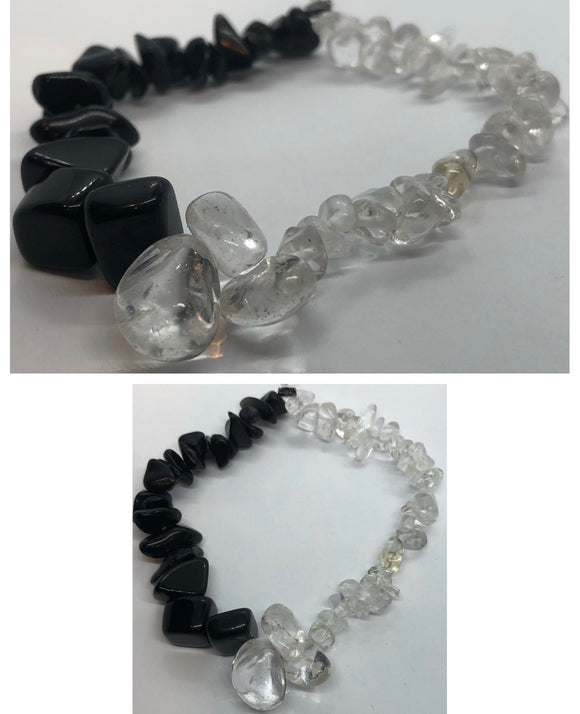 Black Tourmaline Crystal & Clear Quartz Crystal Beaded Chips Bracelet