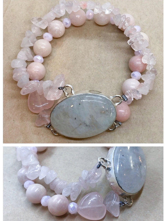 Moonstone set in 925 Silver with Pink Opal & Rose Quartz Crystal Beaded Double Strand Bracelet