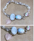 Moonstone set in 925 Silver with Rose Quartz Heart Charm and Moonstone Crystal Chips Beaded Bracelet