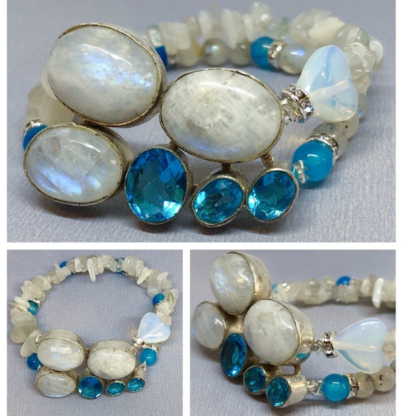 Moonstone and Blue Topaz set in 925 Silver with Double Stranded Moonstone, Blue Agate & Opalite Crystal Beaded Bracelet