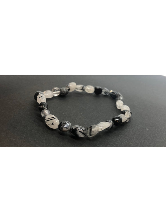 Tourmalinated Quartz Crystal Beaded Bracelet