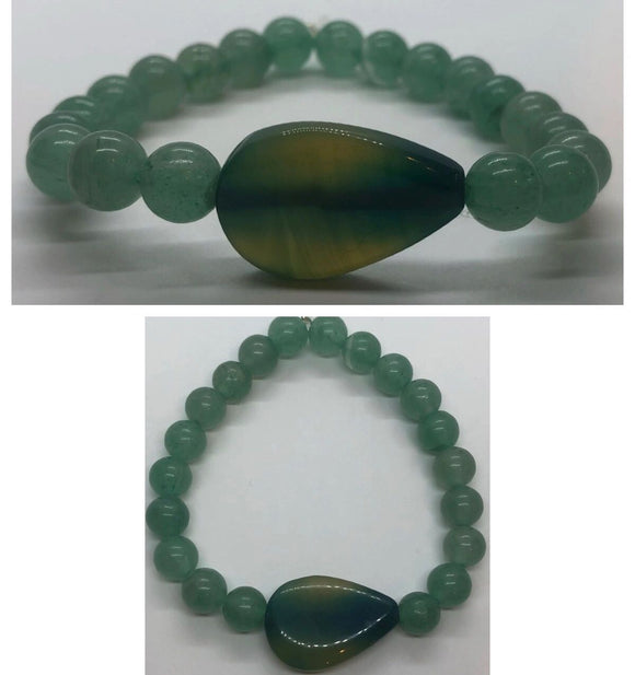 Green Aventurine Crystal Bracelet with Green Agate Crystal Centrepiece