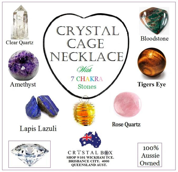 Crystal Cage Necklace with 7 Chakra Stones Kit