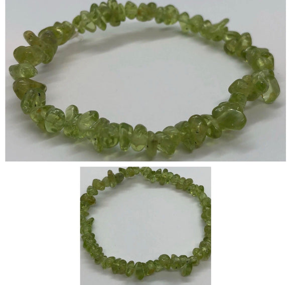 Peridot Crystal Beaded Chips Bracelet