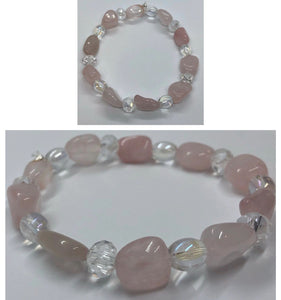 Rose Quartz Crystal Beaded Bracelet