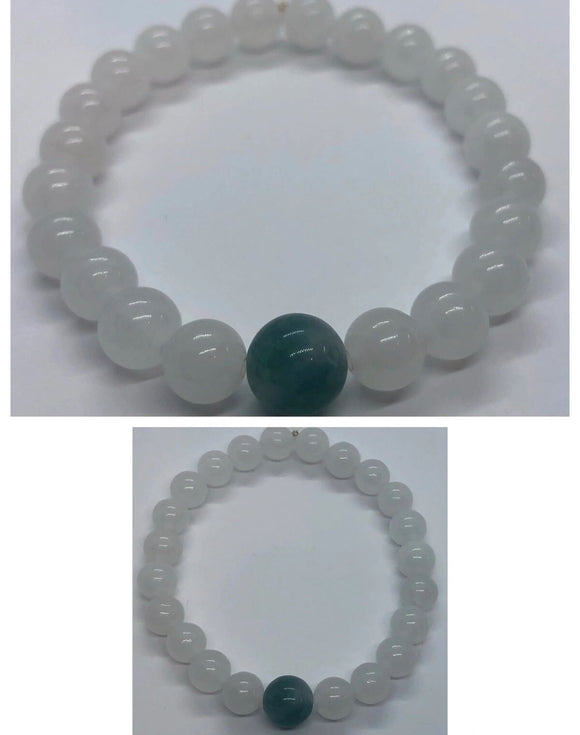 Moonstone Crystal & Jade Crystal Beaded Bracelet