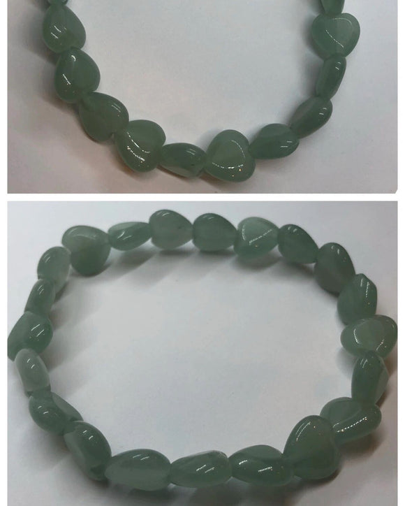 Green Aventurine Crystal Beaded Hearts Bracelet