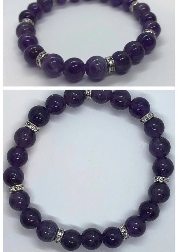 Amethyst Crystal Beaded Bracelet with Diamanté Accents