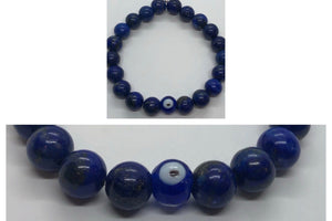 Lapis Lazuli Crystal Beaded Protection Bracelet with Evil Eye 🧿